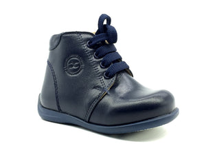 Nubebe First Step Navy Laced Leather Shoes