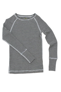 Nui Organics Merino Thermal Crew, Black & White Stripe