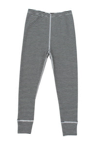 Nui Organics Merino Thermal Leggings, Black & White Stripe