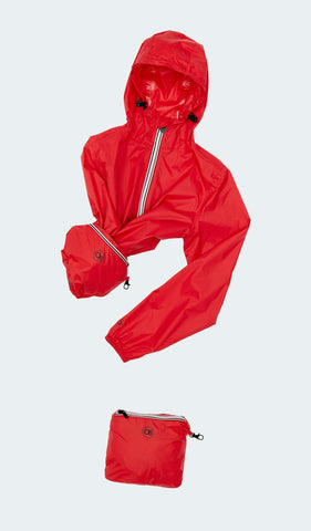 08 Lifestyle Kids Full Zip Packable Rain Jacket - Red
