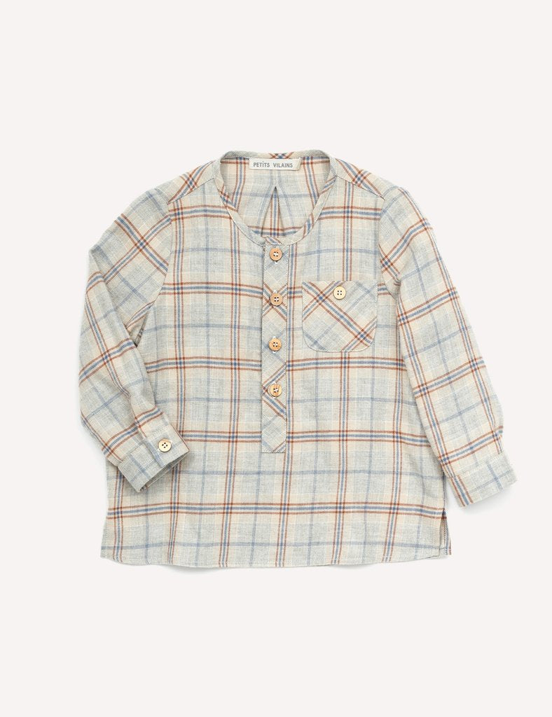 Theo Classic Henley - Rust Plaid