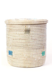 White Lidded Storage Basket with Shades of Blue Dots