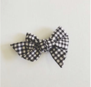 Pinwheel Bow - Black & White Gingham