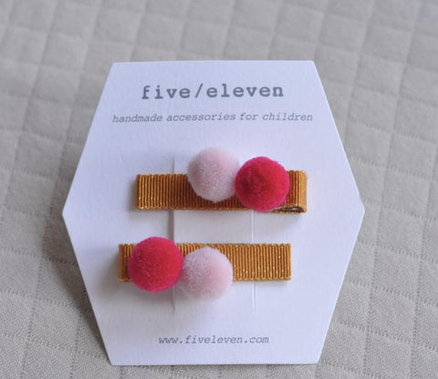 Five/Eleven Barrettes - Pairs of 2 Poms - Masala