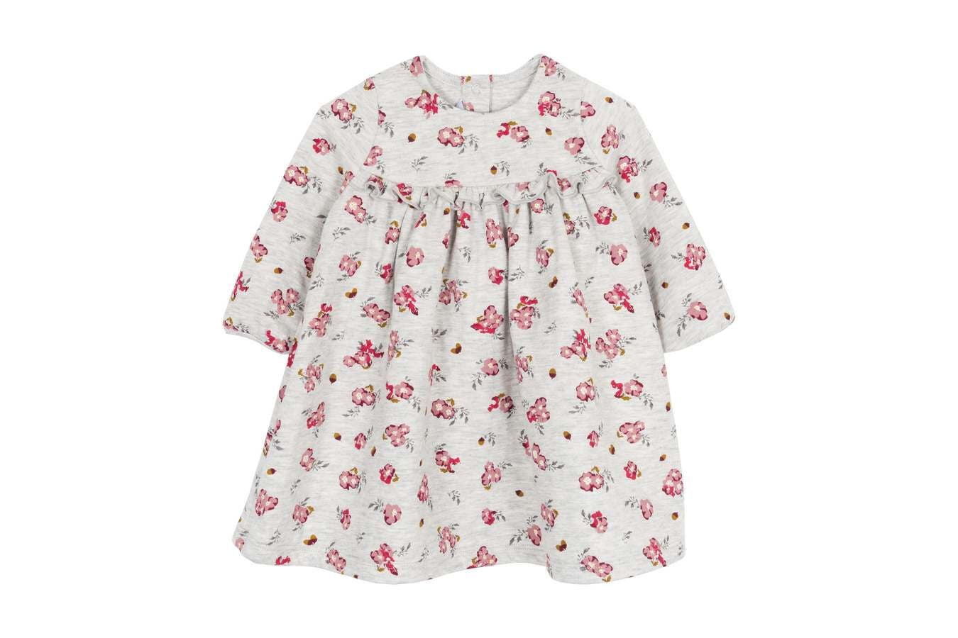 Petit Bateau Grey Floral Long-Sleeved Baby Dress