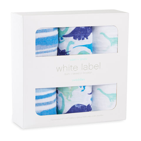 Aden & Anais 3-pack Classic Swaddles White Label - Jurassic