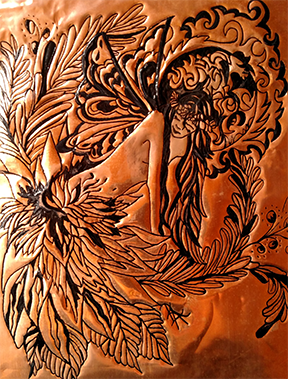 Fairy Art Ink Engraved Copper-Lotus Fairy