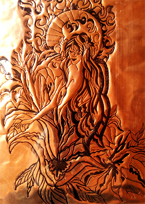 Fairy Art Ink Engraved Copper-Fairy Goddess