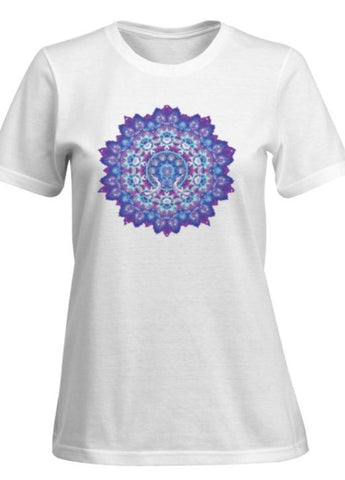 Short Sleeve T-shirt Woman Aura Portrait and Mandala