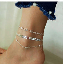 Load image into Gallery viewer, Chevron And Crystals Anklet Set- 3Pcs