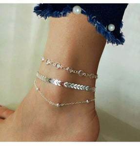 Chevron And Crystals Anklet Set- 3Pcs