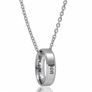 Charm I Love You Mom Son Daughter Necklaces Ring Stainless Steel Circle Necklace Gift