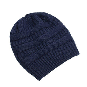 Hat Cap Skully Trendy Warm Chunky Soft Stretch Cable Knit Winter Hat For Women