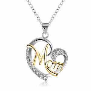 Fashion Letter MOM Heart Shape Inlaid Crystal Pendant Necklace Gift High Quality Jewelry