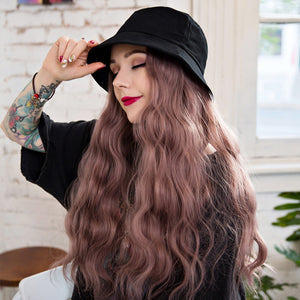 Fisherman Hat with Long Hair Wig Cap