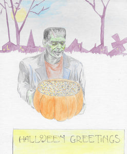 Halloween Frankenstein 8X10 Art Print