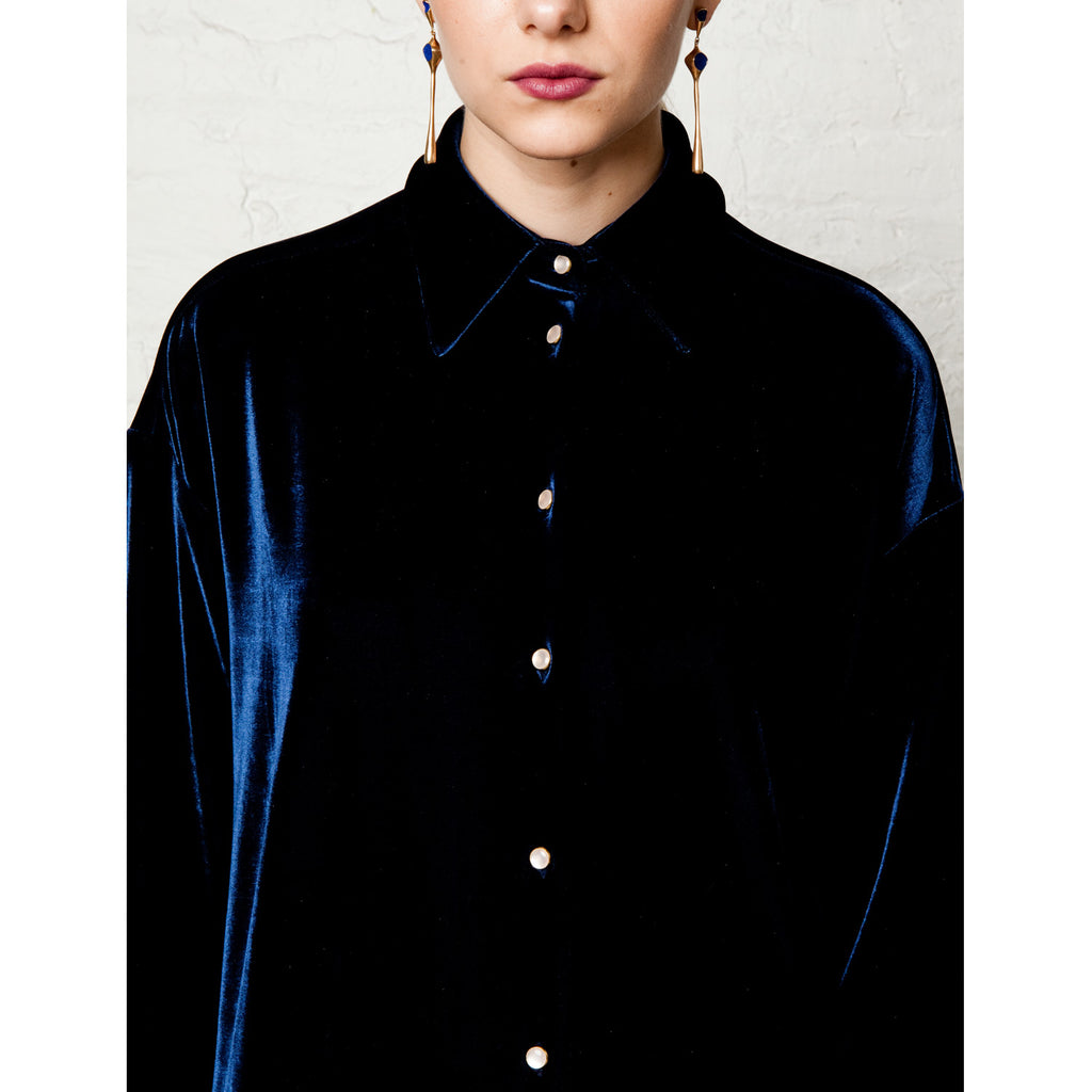 Blair Velvet Pajama Shirt - Midnight Navy