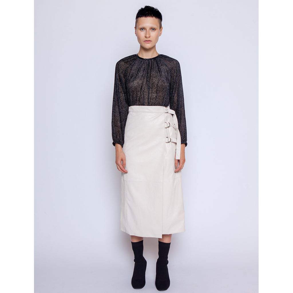 Wrap midi skirt - Vegan leather / Off White