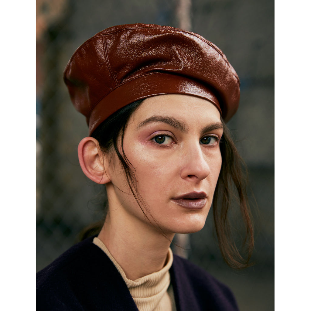 Vegan Patent Leather Beret - Amber