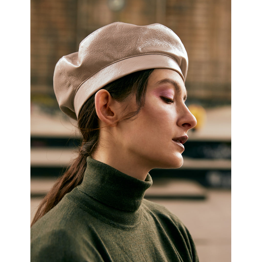 Vegan Patent Leather Beret - Ivory