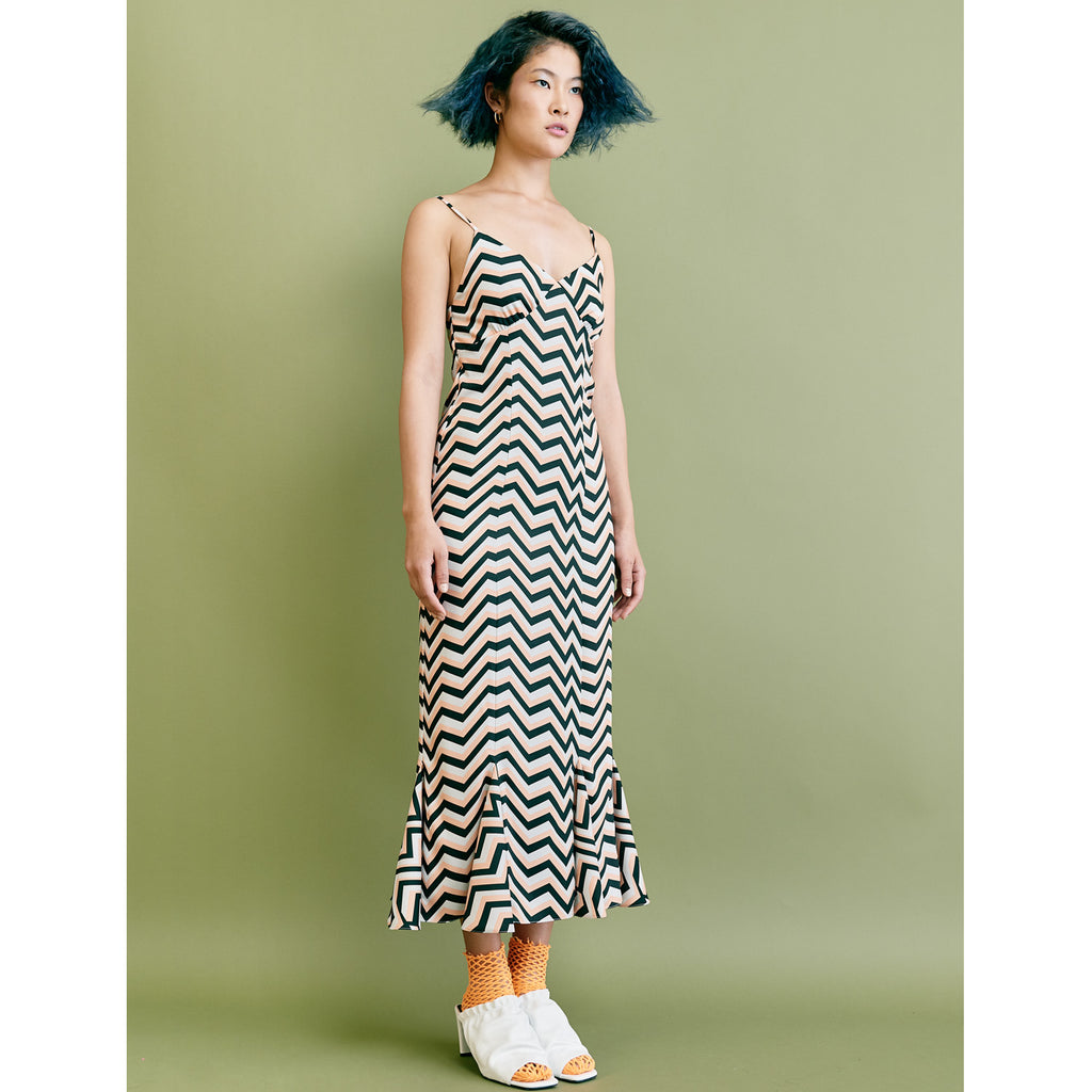 "Paris Slip Dress - ""Zigzag"" Apricot"
