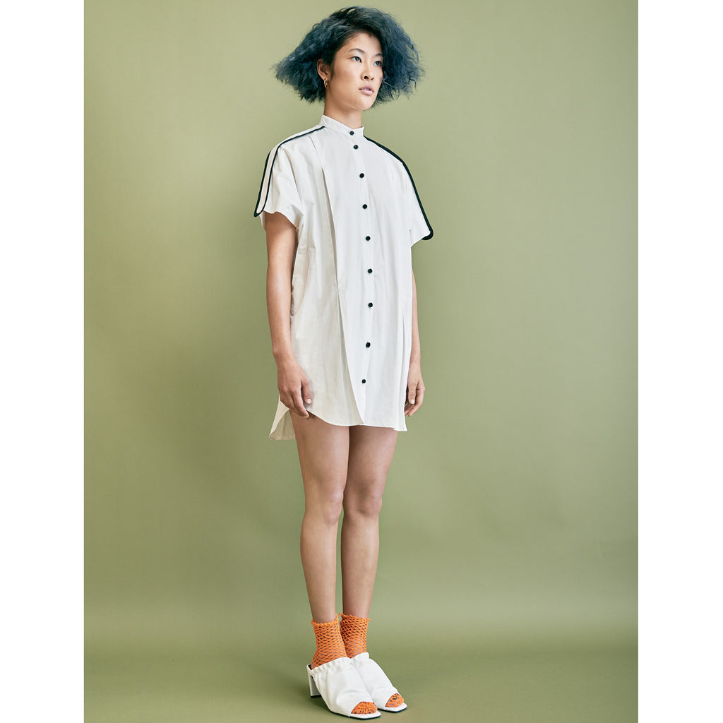 Sasha Pleated Shirtdress - White