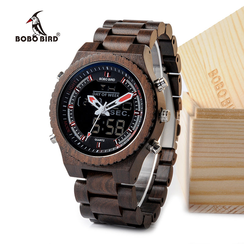 BOBO BIRD Wooden Mens Multifunctional Wristwatch