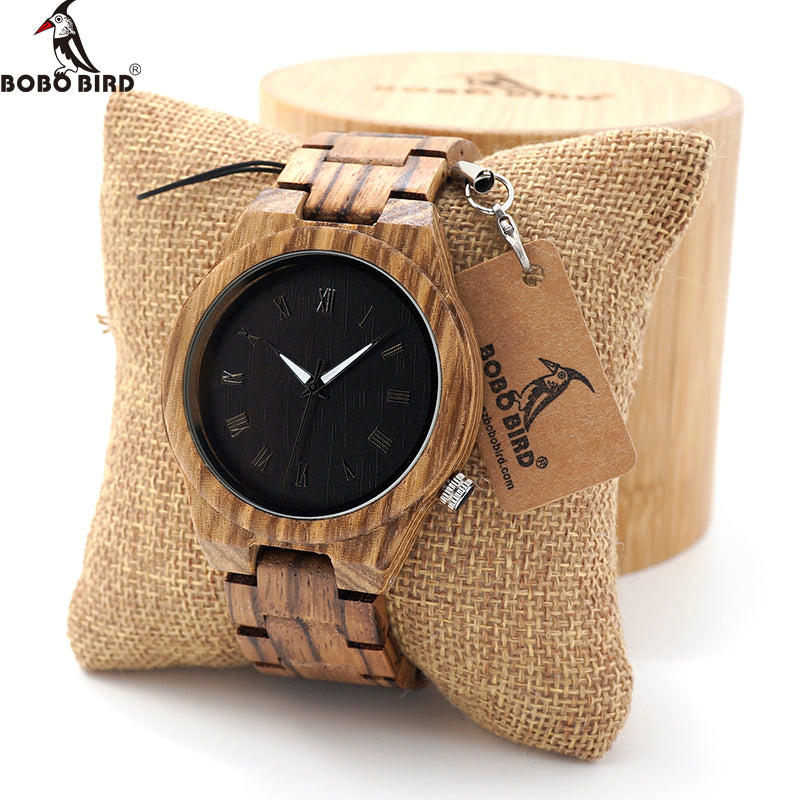 Mens Watch Zebra Wood Quartz With Luminous Hands