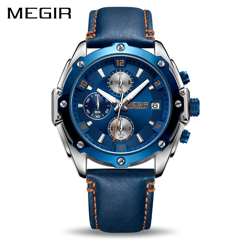 MEGIR Chronograph Blue Leather Business Quartz Watch