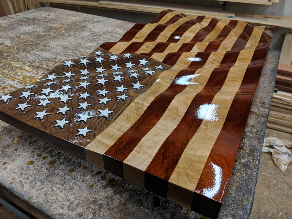 Bloodwood Maple Walnut Wooden American Waving Flag Rush Woodworks