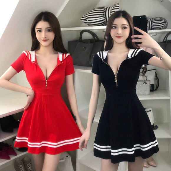 2019 Navy Zipper Dress