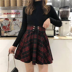 Grid Lace Up Skirt