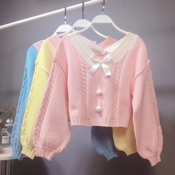 Macaron Colored Crop Top Sweater