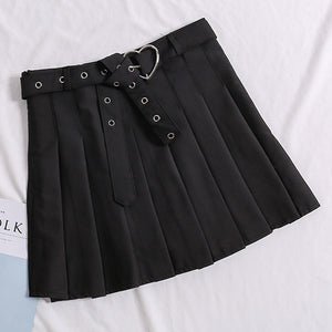 Heart Belt Buckle Pleated Skirt