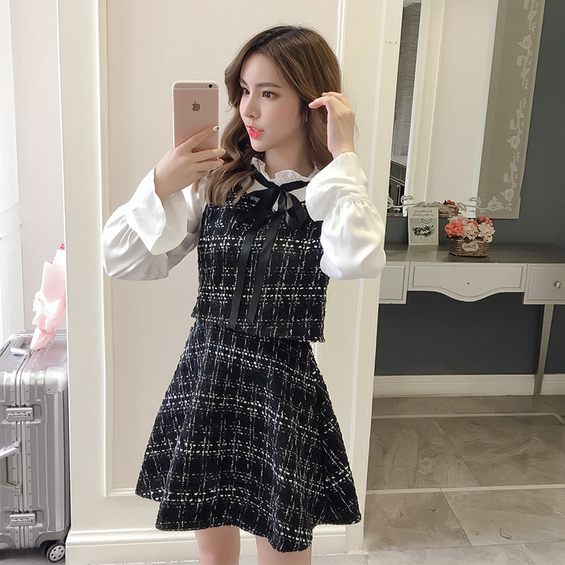 Mock Two-Piece Chic Tweed Dress