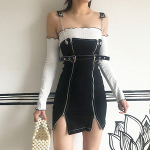 Side Zipper Suspender Skirt