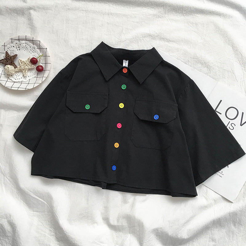 Colorful Button Crop Top
