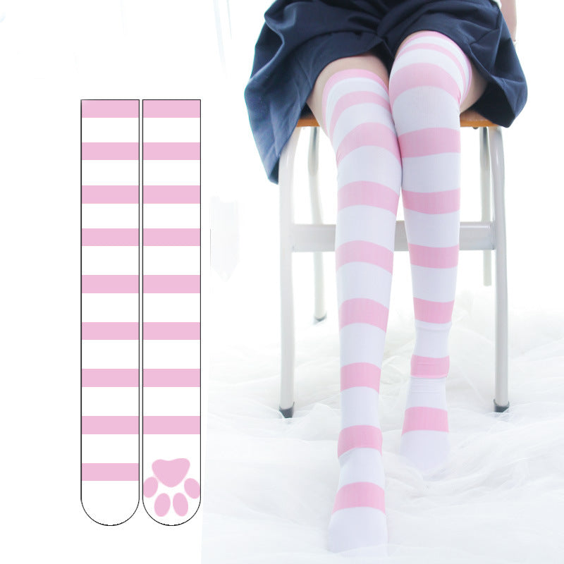 Cute Cat Paw Striped Socks pic
