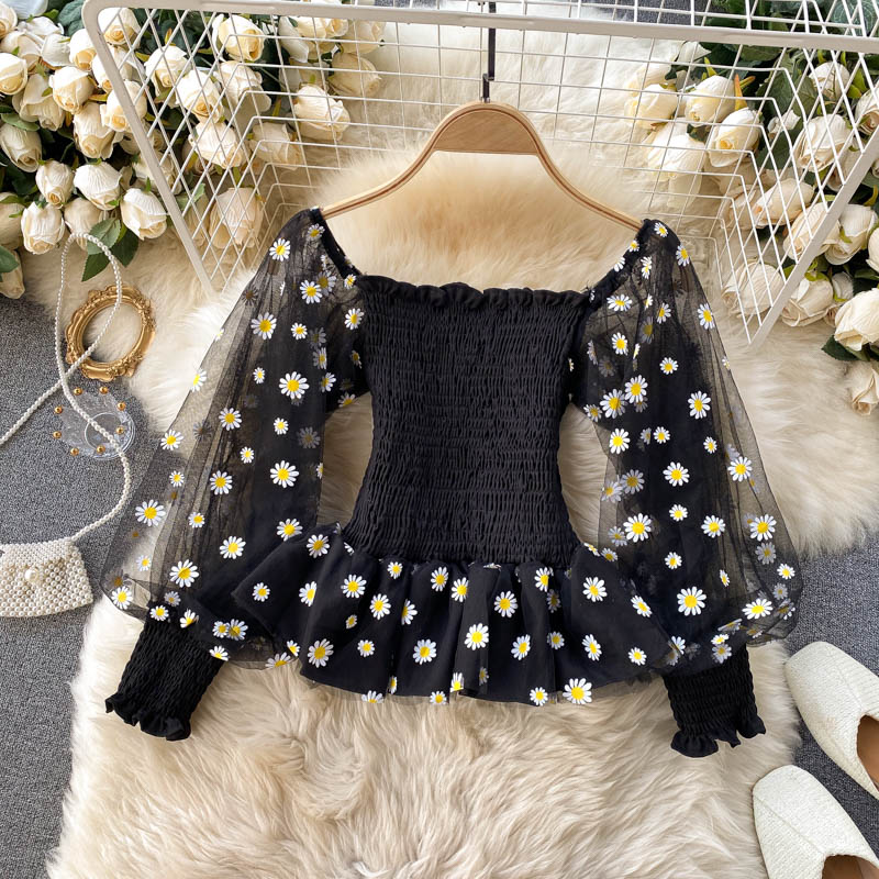 Daisy Ruffled Crop Shirt