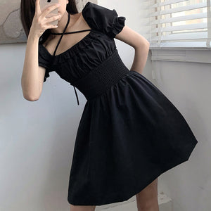 Gothic Crossed Halter Dress