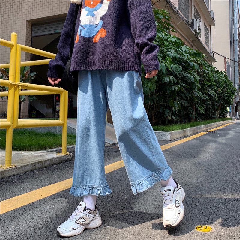 Kawaii Denim Ruffled Trousers pic