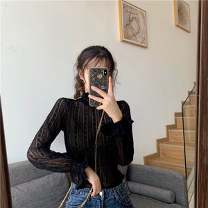 Lace Turtleneck Shirt
