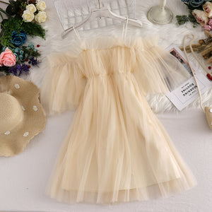 Off-shoulder Gauze Dress