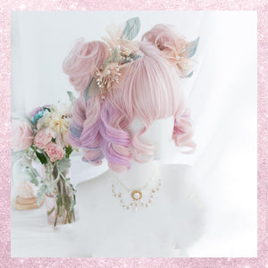Pink Rainbow Candy Wavy Wig with bud pic
