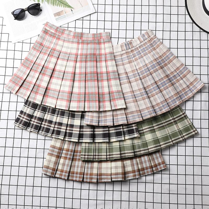 Plaid Preppy Pleated Skirt