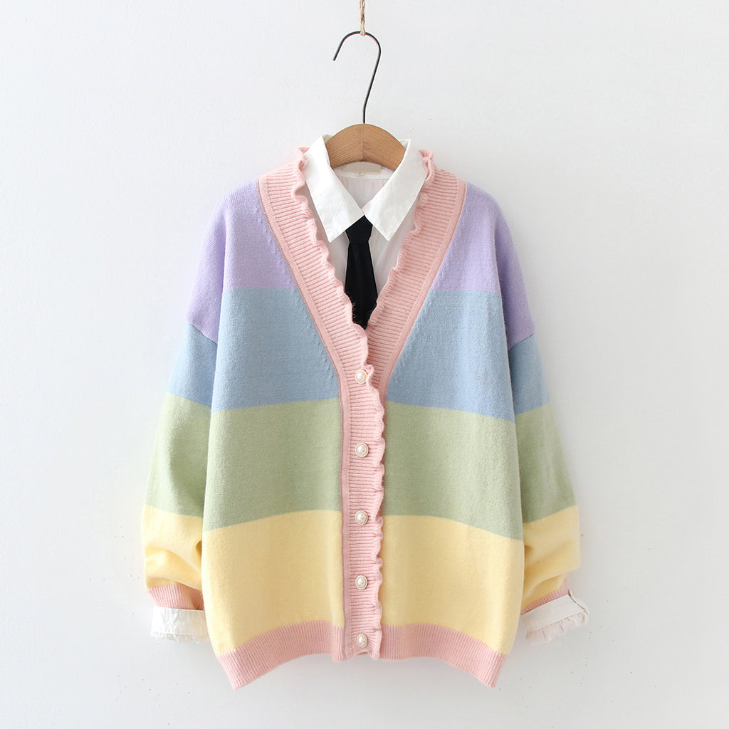 Rainbow Striped Wave Cardigan pic