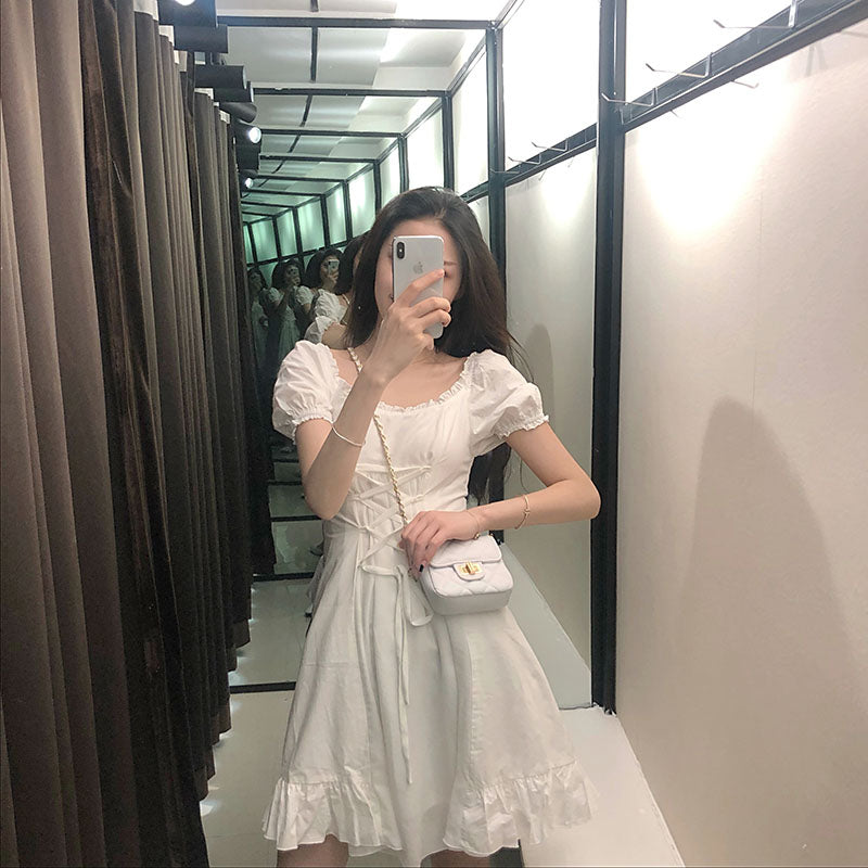 Soft Girl Look Lace-up Dress pic
