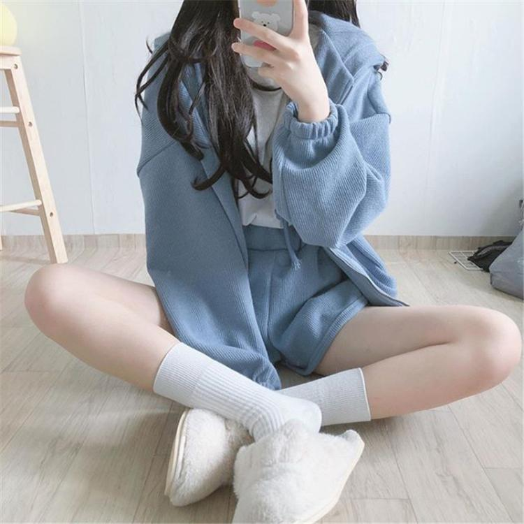 Soft Girl Preppy Coat W/ Shorts ( two pieces )