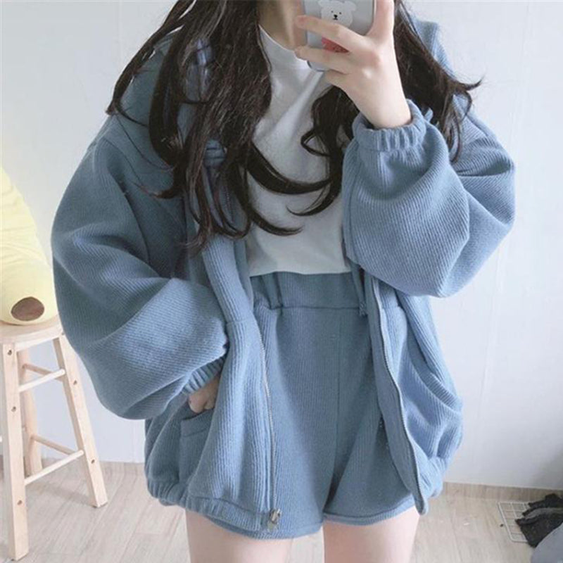 Soft Girl Preppy Coat W/ Shorts ( two pieces ) pic
