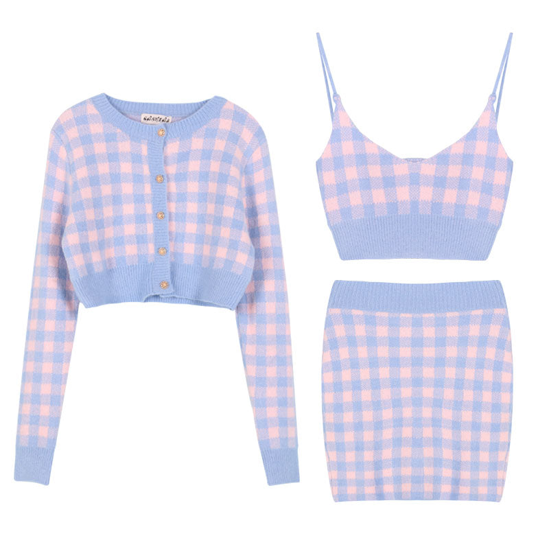 Soft Girl Spring 3 Pieces Outfits
